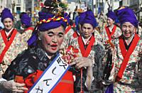 Itoman, Okinawa, Japan: aged ladies folkloric group during the O-tsunahiki Festival
