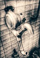 Old pedal foot operated hand dryer, Sweden, Scandinavia