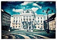 The building of the old National Theater was built 1886 in the style of the Neo-Renaissance. It is located in the old town of Bratislava, Slovakia, Eu...