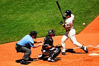 A Minnesota Twins Batter is Hit by a Pitch During a Day Game at Target Field.