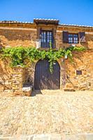 Facade of traditional house. Castrillo de los Polvazares, Leon province, Castilla Leon, Spain.