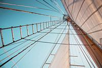 Looking up view of rigging and sails on an antique sailing ship