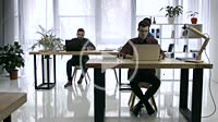 Time lapse of busy working day in creative office