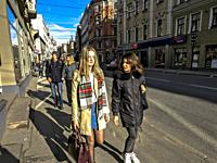 Riga, Latvia Street and pedestrians, Old Town.