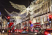 Christmas decoration in Regent Street in central London, England, UK.