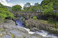 Pont-y-Pair Bridge over the Afon Llugwy, Betws-y-Coed, Snowdonia National Park, Conwy, North Wales, UK.