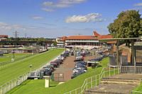 Chester racecourse known as the Roodee, from the City Walls, Chester, Cheshire, England, UK.
