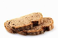 Black bread isolated on white background.