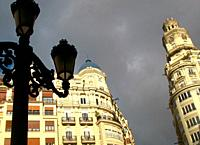 Architecture of the historic center, Town Hall Square, Valencia, Spain