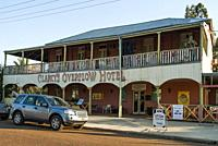 The historic Clancy's Overflow Hotel at Isisford on the Barcoo River in outback Queensland, Australia.