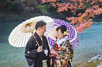 Japan , Kyoto City, Arashi Yama , Wedding, Autumn Leaves.