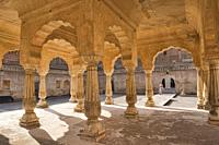 Arched pavilion at the Amer Fort, Jaipur, India.