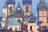 Czech Republic, Prague - Spires of The Old Town and Tyn Church.
