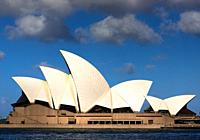 Iconic Sydney Opera House, side view. New South Wales, Australia.