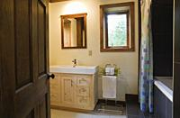 Main bathroom inside a cottage style log home, Quebec, Canada. This image is property released. CUPR0284.