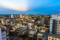 High angle view of buildings in Hue, Central Vietnam.