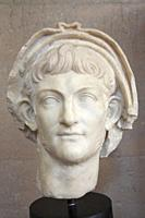 Europe, Greece, Peloponnese, ancient Corinth, archaeological site, Archaeological museum, portrait of the emperor Nero.