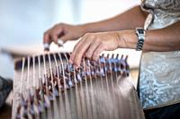 Detailed look of woman plucking strings of the historically rich instrument the guzheng, Greensboro, North Carolina. USA.