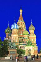 Saint Basil's Cathedral at Dusk, Red Square, Moscow, Russia.