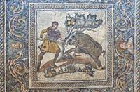 Merida, Spain: Wild boar hunting mosaic. National Museum of Roman Art in Merida, Spain.