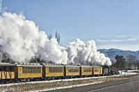 Train running in Durango, Colorado, USA