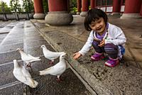 Girl feeding doves, Chongsheng Temple, Dali, Yunnan Province, China. The temple dates from the 9th and 10th centuries.
