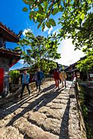 The Dashiqiao Bridge, a stone bridge built during the Ming Dynasty, The Old Town (Dayan) of Lijiang, Yunnan Province, China. The Old Town is a UNESCO ...