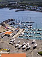 Port in Praia da Vitoria, elevated view, Terceira Island, Azores, Portugal.