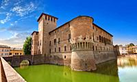Picture & image of the exterior of the late medieval (13th century) moated urban castle reisdence of Rocca Sanvitale ( Sanvitale Castle ), Fontanellat...