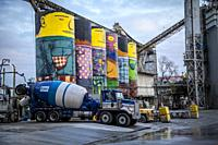 silos for the cement decorated in Vancouver.