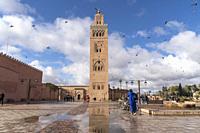 Koutoubia Mosque minaret, Marrakesh, Kingdom of Morocco, Africa.