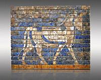Coloured glazed brick panels depicting bulls, the symbol of the weather god Adad, from the facade of the first smaller Ishtar Gate, Babylon, dating fr...