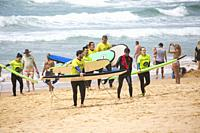 Beginners learning to surf at Manly Beach surf school in Sydney,Australia.
