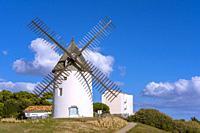 The Windmill in Jard-sur-Mer, Sables-d'Olonne District, Vendée Department, Pays de la Loire Region, France, Europe.