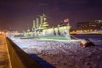 Armoured cruiser Aurora which started russian revolution in 1917 St Petersburg Russia.