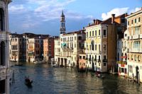 View of Canal Grande from the Rialto Bridge.