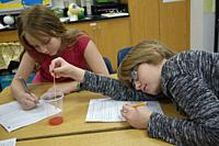 Students Doing Experiment in 7th Grade Science Class, Wellsville, New York, USA.