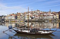 Warre's Port wine boat called Rabelo, Vila Nova de Gaia, Porto, Portugal.