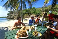 lobster barbecue on the beach, Baradal islet, Tobago Cays, Grenadines islands, Saint Vincent and the Grenadines, Winward Islands, Lesser Antilles, Car...
