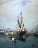 Departure from Piraes to Tinos, 1880-1890 oil on canvas. Painting collection 'seascapes' by Constantinos Volanakis at the Theocharakis Foundation for ...