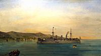 The S. M. S. Kaiserin Augusta, steamboat in Faliro, 1897. Oil on canvas. Painting collection 'seascapes' by Constantinos Volanakis at the Theocharakis...