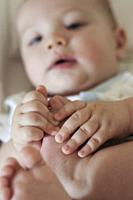 Close up of Baby Hands and Feet of a Baby