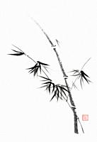 Minimalistic Japanese Sumi-e Zen black ink painting of bamboo stalk with young leaves on rice paper illustration fine artwork.