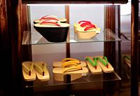 Expensive vintage traditional Japanese wooden geta shoes on a store display in Gion Kyoto Japan.