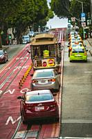 Cable car at Powell Street. Around Union Square. San Francisco. California, USA