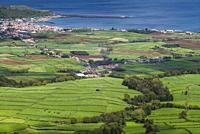 Portugal, Azores, Terceira Island, Serra do Cume, elevated view towards Praia da Vitoria.