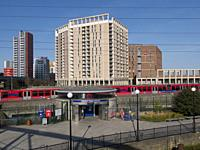 Europe, UK, England, London, Canning Town DLR Bow Creek.