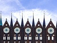 View of the historic medieval town hall of the Hanseatic City of Stralsund, Mecklenburg-Pomerania, Germany.