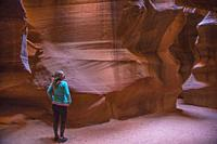 The colorful sandstone walls of Upper Antelope Canyon on the Navajo Tribal Land, Page Arizona.