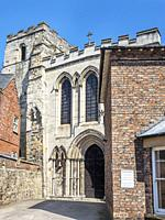 Priory Church of the Holy Trinity from Priory Street in the historic quarter of Micklegate in York Yorkshire England.